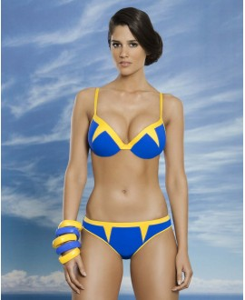 Colour block two piece swimwear with double push-up effect cup